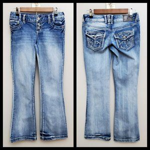 Maurices Button Fly Boot Cut Jeans Size 1/2R